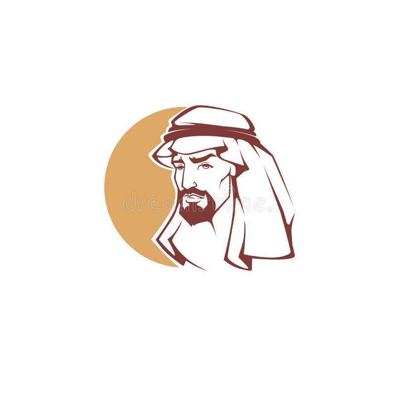 Stilig arabisk man för din logo, etikett, vektor illustrationer
