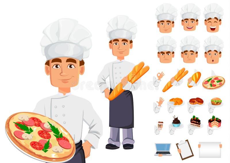 Stilig bagare i yrkesmässig likformig stock illustrationer