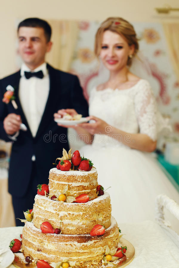 Stilig brudgum för lyckliga brölloppar och blondinbrud som äter delikatessaffär arkivbild