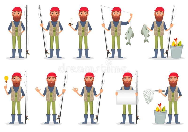 Stilig fisher, gladlynt tecknad filmtecken royaltyfri illustrationer