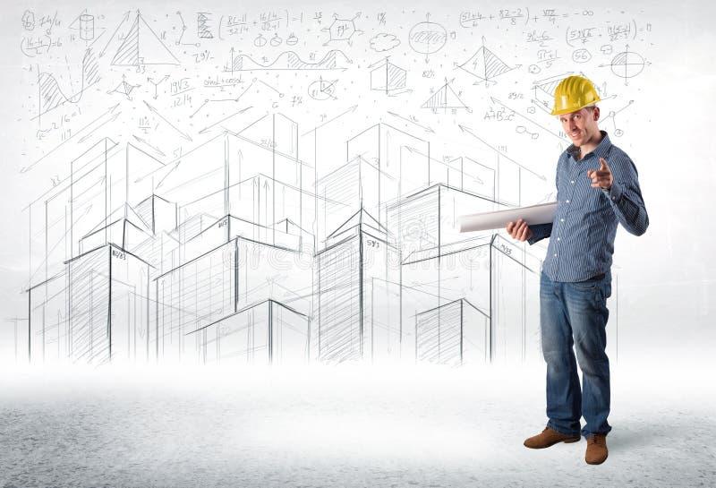 Download Stilig Konstruktionsspecialist Med Stadsteckningen I Bakgrund Arkivfoto - Bild av företags, draw: 78729862