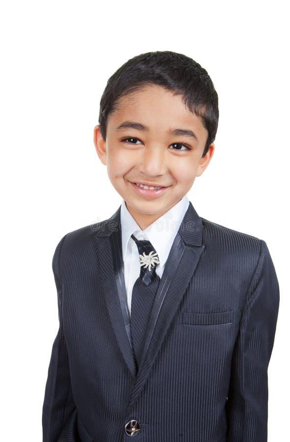 stilig liten dräkt för pojkeaffär royaltyfri fotografi