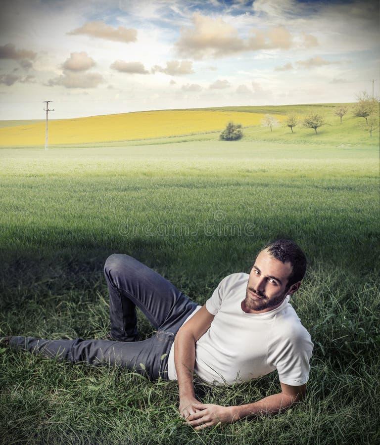 Stilig man i fälten fotografering för bildbyråer