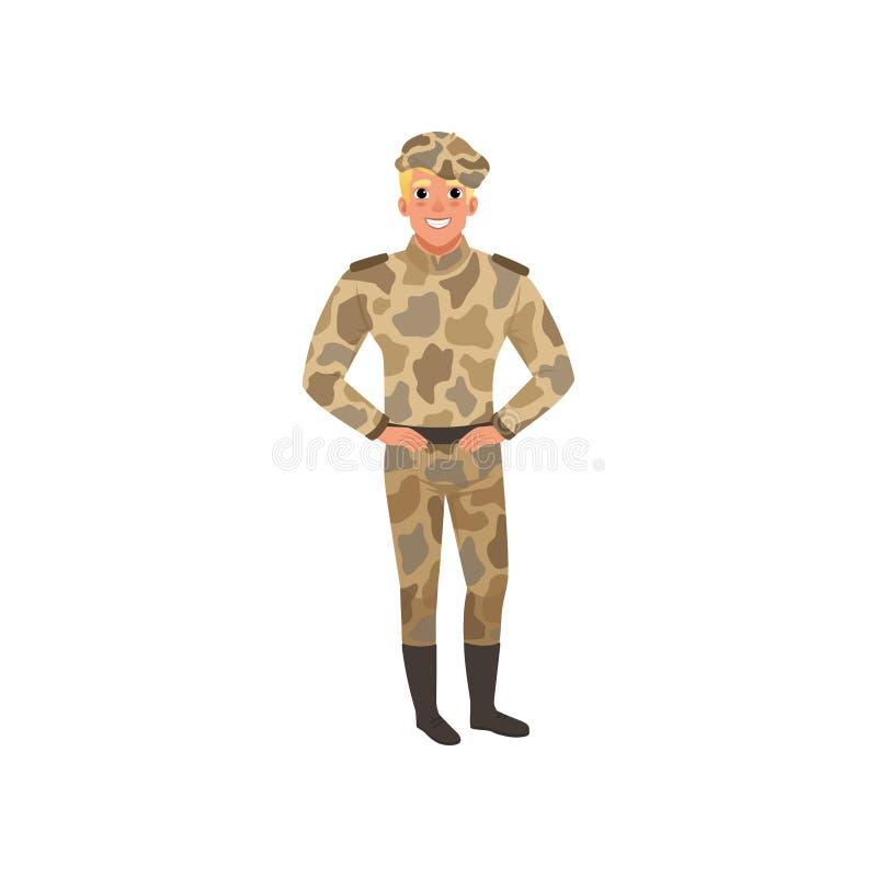Stilig man i kamouflagelikformig Kommendörkapten av infanteri Ung grabb i militär kläder Plan vektordesign royaltyfri illustrationer