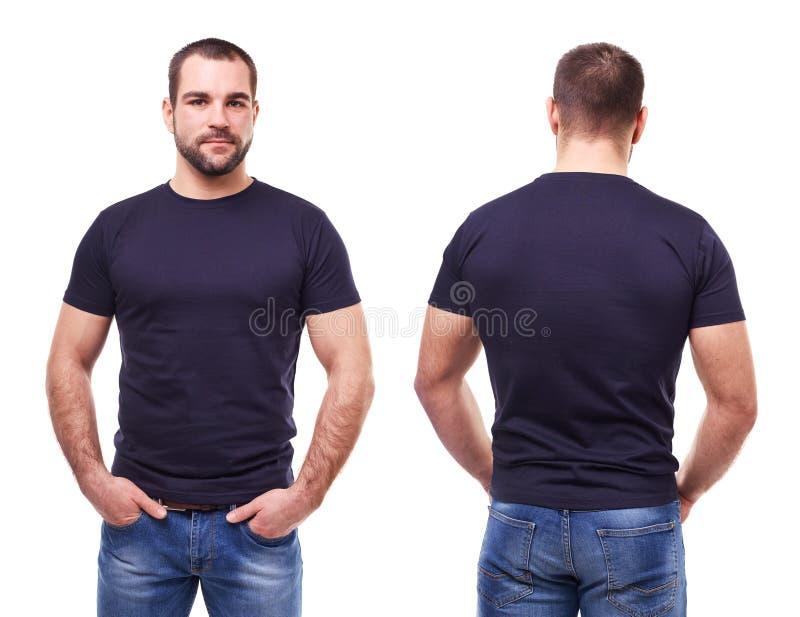 Stilig man i svart t-skjorta arkivfoto