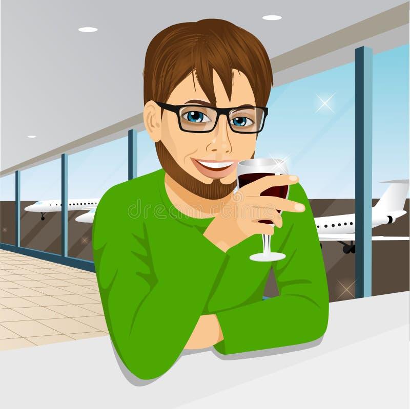 Stilig man med exponeringsglas som dricker vin stock illustrationer