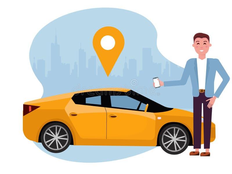 Stilig man med smartphoneanseende nära den gula bilen Hyrabil genom att använda den mobila appen Online-carsharingbegrepp Medel p stock illustrationer