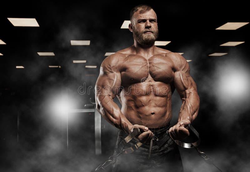 Stilig man med stora muskler som poserar på kameran i idrottshallen arkivfoto