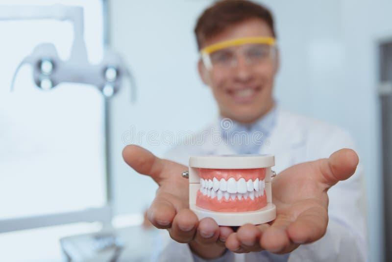 Stilig manlig tandläkare som arbetar på hans klinik royaltyfria bilder