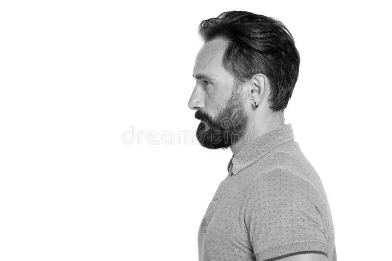 stilig manprofil för bearde med skägget på vit bakgrund manprofil med modern frisyr Stark profil för lugna man med skägget royaltyfri bild