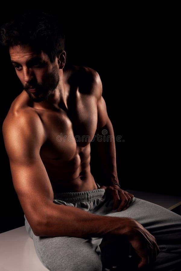 Stilig muskulös manlig modell arkivfoto