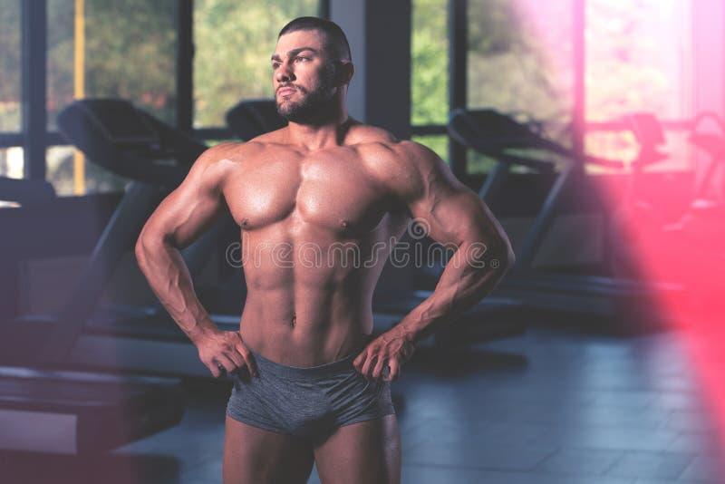 Stilig muskul?s man som b?jer muskler i idrottshall royaltyfri foto