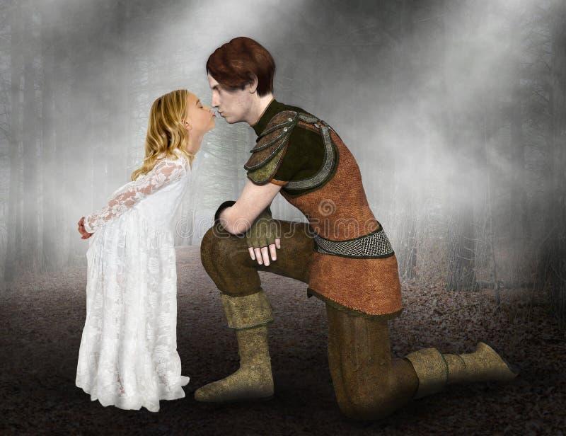 Stilig prins för flickakyss, dröm arkivbild