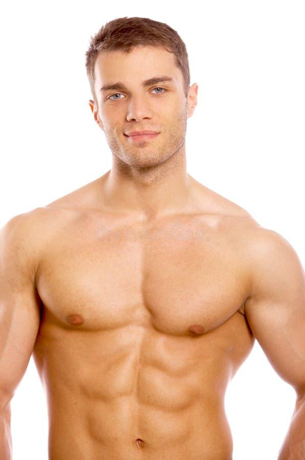 Stilig sexig naken ung man fotografering för bildbyråer