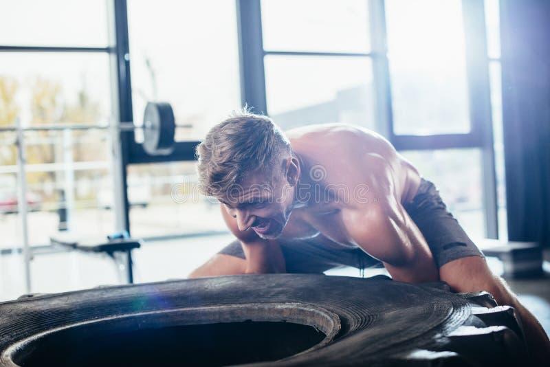 stilig shirtless idrottsman som lyfter det tunga gummihjulet royaltyfria bilder