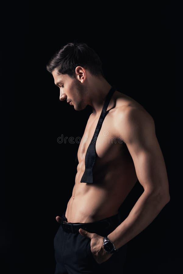 stilig shirtless man med isolerade händer, i att posera för fack arkivbild