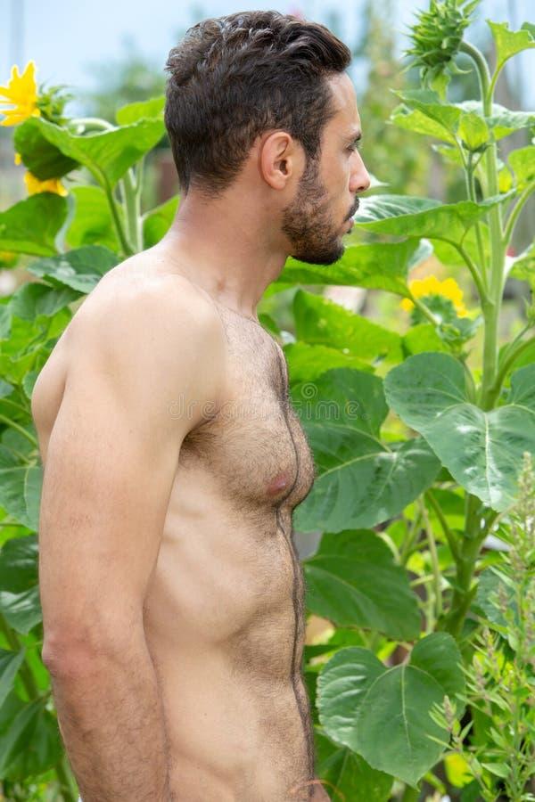 Stilig shirtless man som utomhus står i trädgård royaltyfri fotografi