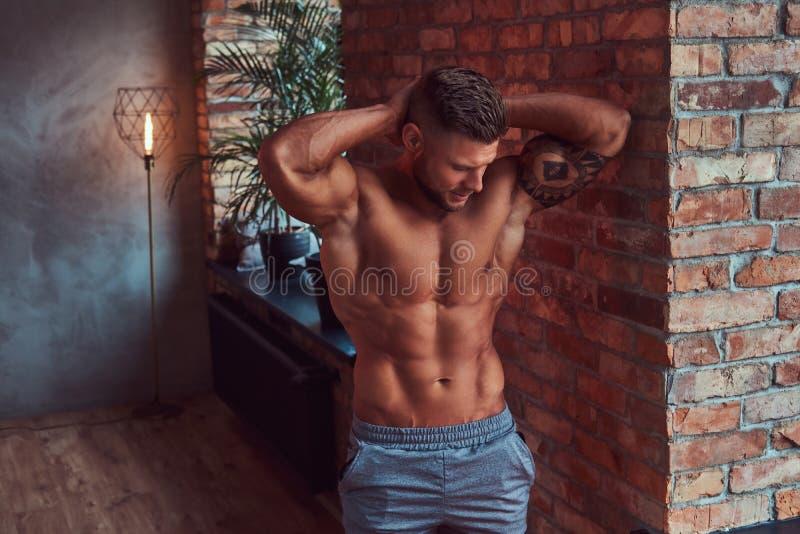 Stilig skäggig man med stilfullt hår och tatuering på hans arm som är shirtless i kortslutningar som poserar mot en tegelstenvägg royaltyfri fotografi