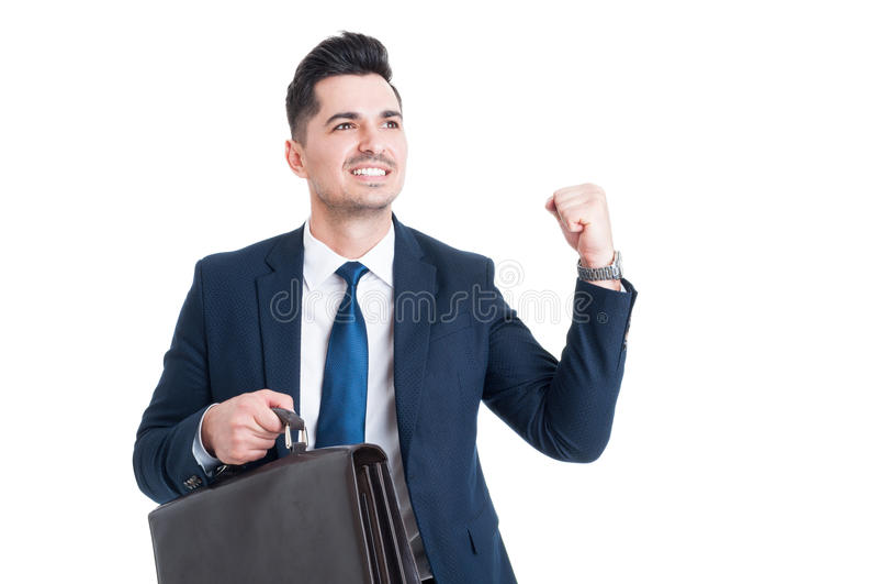 Stilig ung glad lyckad affärsman eller representant royaltyfria foton