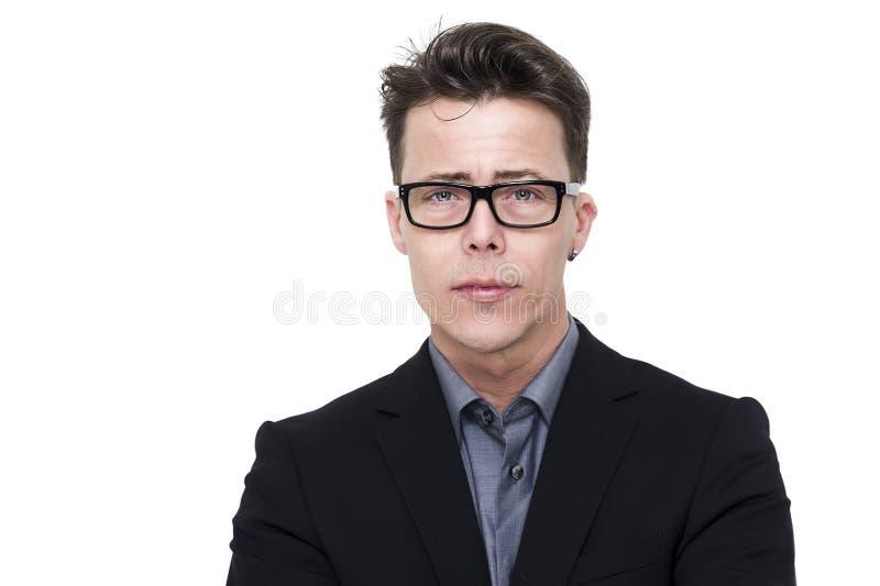 Stilig ung man i nerdy exponeringsglas arkivbilder