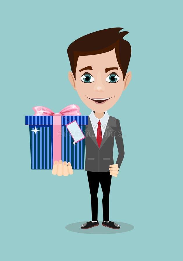 Stilig ung man som ler och ger en gåvaask till dig royaltyfri illustrationer