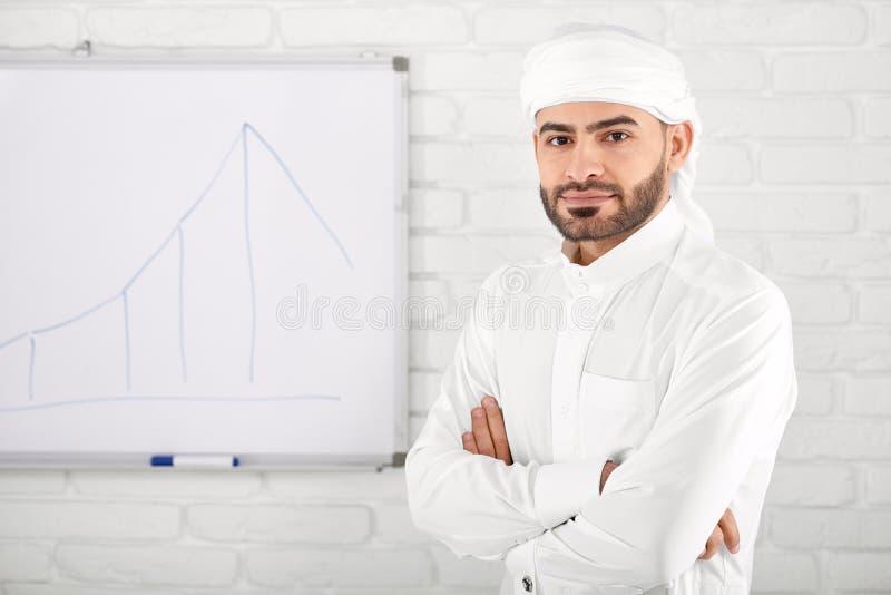 Stilig ung muslimman i traditionella islamiska kläder som framme står av finansiellt diagram arkivfoto