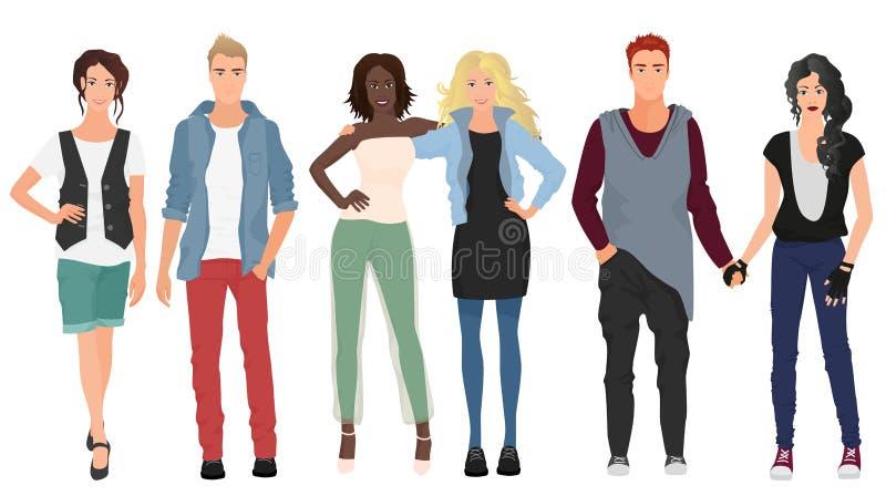 Stiliga unga grabbar med härliga flickor modellerar par i tillfällig modern modekläder Folkpar vektor illustrationer