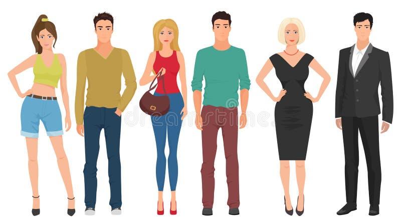 Stiliga unga grabbmän med härliga gulliga flickor modellerar par i modern modekläder för tillfällig gata stock illustrationer