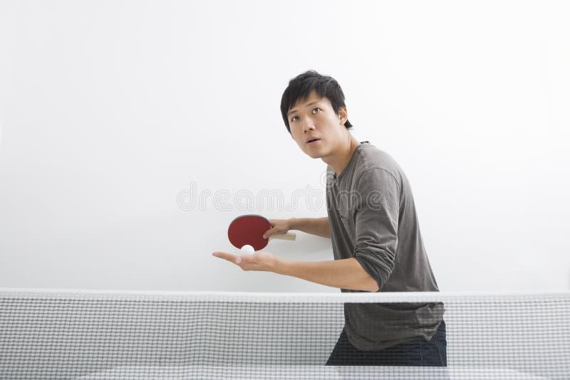 Stiligt asiatiskt spela för man knackar pong royaltyfria bilder