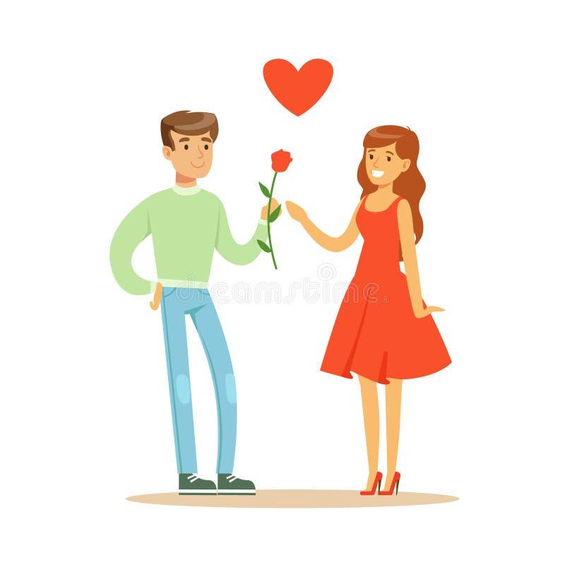 Stiligt ge sig för man steg till hans härliga flickvän i för teckenvektor för röd klänning färgrik illustration stock illustrationer