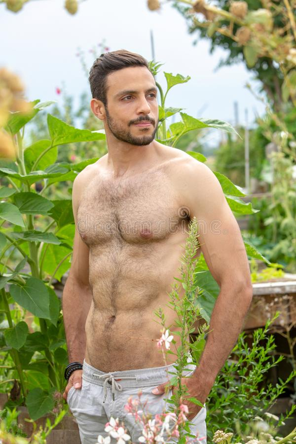 Stiligt hårigt shirtless mananseende i trädgård fotografering för bildbyråer