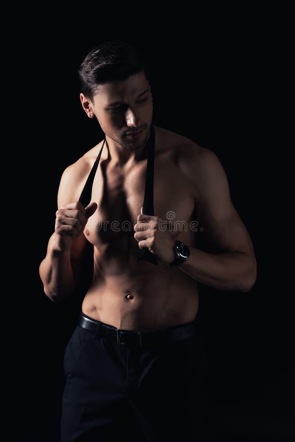 stiligt isolerat shirtless posera för man fotografering för bildbyråer