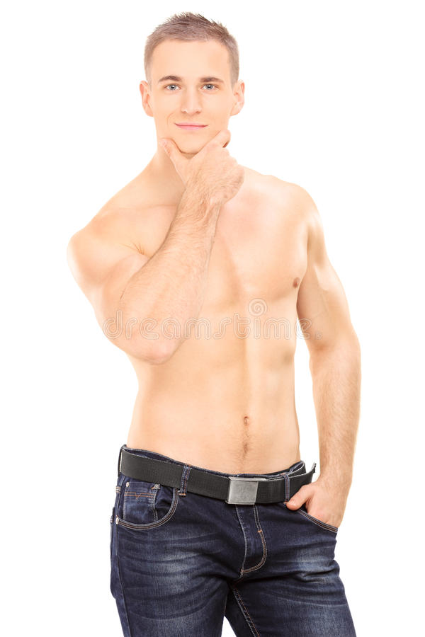Stiligt shirtless posera för man royaltyfria foton