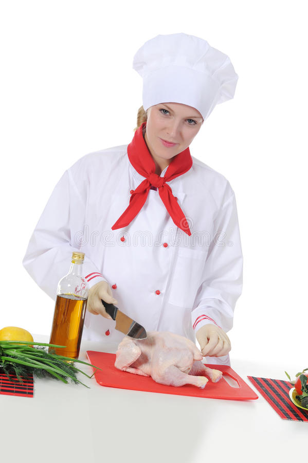 stiligt uniform barn för kock royaltyfria bilder