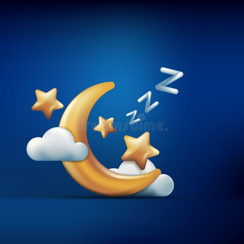 Stilillustration för vektor 3d av den guld- månen, stjärnor och moln på blå bakgrund Sova begrepp Dröm- symboler för natt vektor illustrationer