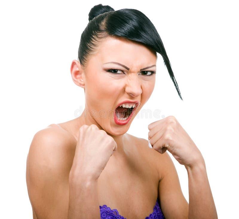 stiling white för aggressivt flickahår arkivbilder