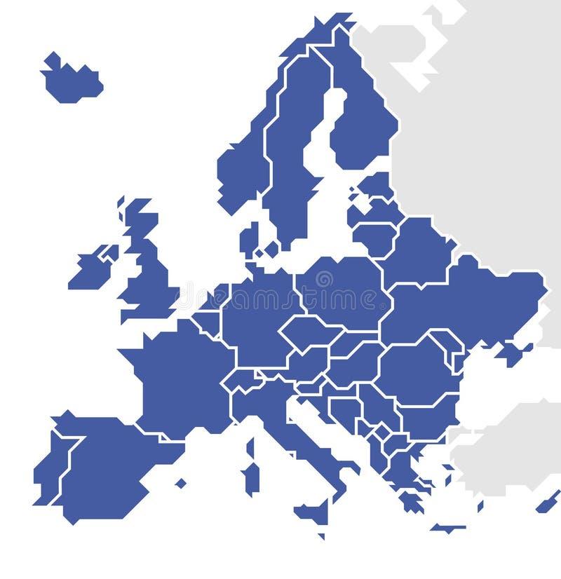Stiliserad översikt av Europa vektor illustrationer