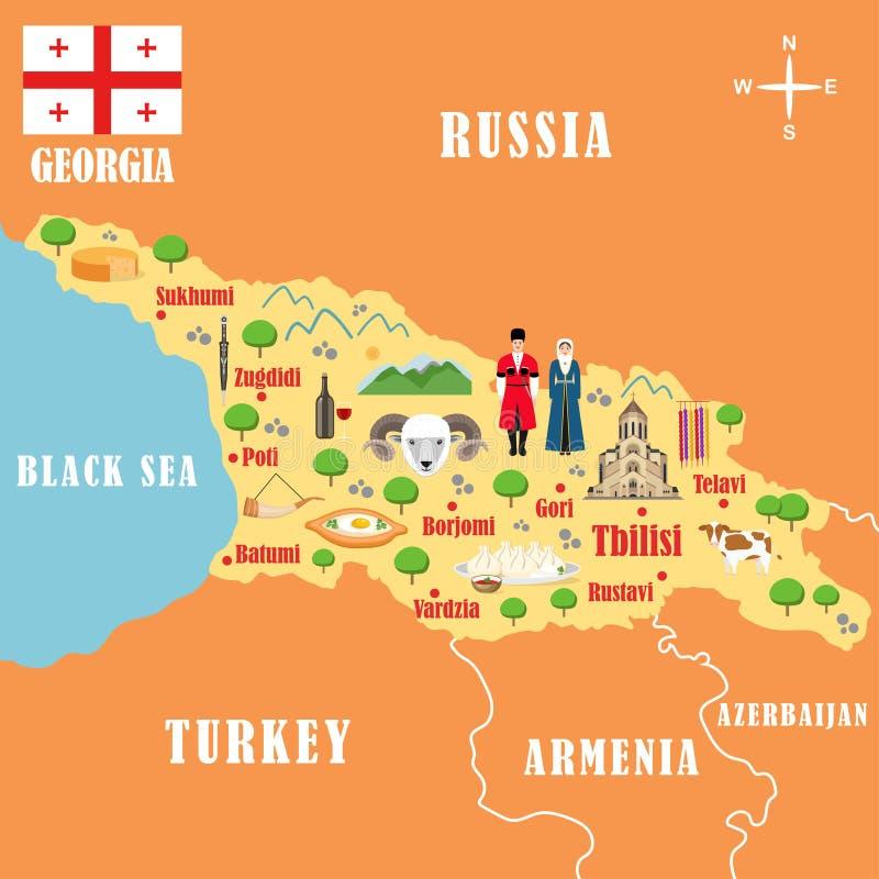 Stiliserad översikt av Georgia royaltyfri illustrationer
