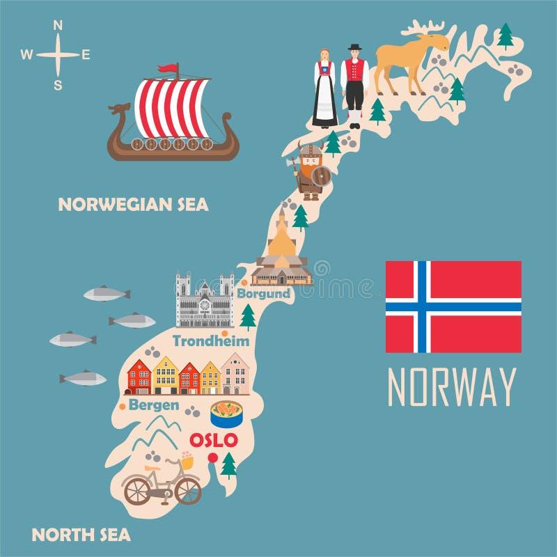 Stiliserad översikt av Norge vektor illustrationer