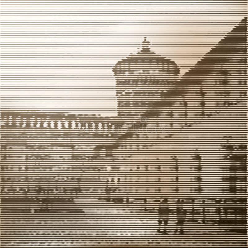 Stiliserad affisch av en medeltida slott med ett torn vektor illustrationer