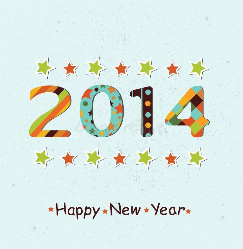 Stiliserad bakgrund 2014 för lyckligt nytt år vektor illustrationer
