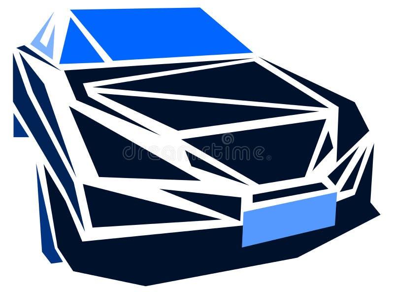 Stiliserad bil i blåa signaler royaltyfri illustrationer