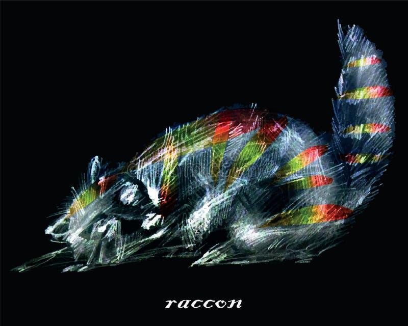 Stiliserad bild för vektordiagram av raccon vektor illustrationer