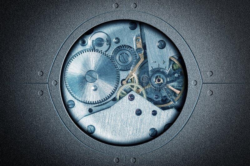Stiliserad collage av en abstrakt begreppbakgrund för mekanisk apparat arkivbild