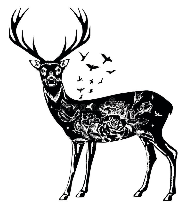 Stiliserad dekorativ dragen illustration för hjortvektorfärgpulver hand vektor illustrationer