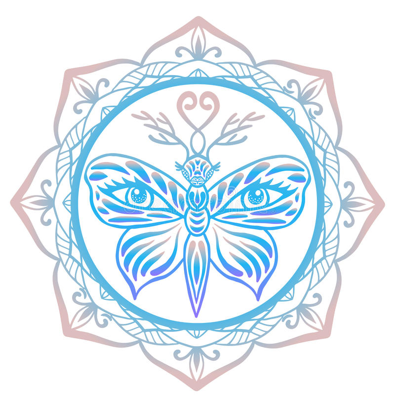 Stiliserad djur ande för totem, tigerfjäril med hjorthorn på kronhjort och mänskliga ögon på dess vingar som inramas med blom- ma stock illustrationer