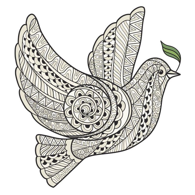 Stiliserad duva med stilzentangle för olivgrön filial royaltyfri illustrationer