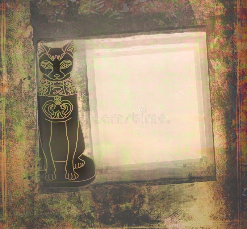 Stiliserad egyptisk katt, grungeram vektor illustrationer