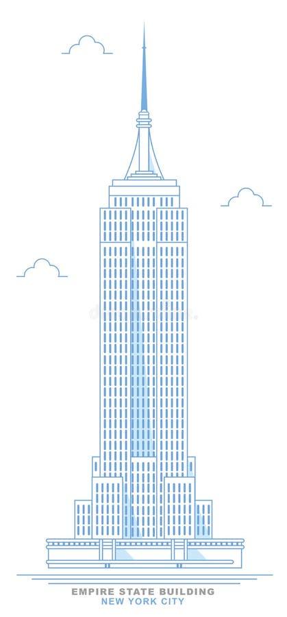 Stiliserad Empire State Building, frihandsdesign New York City skyskrapa stock illustrationer