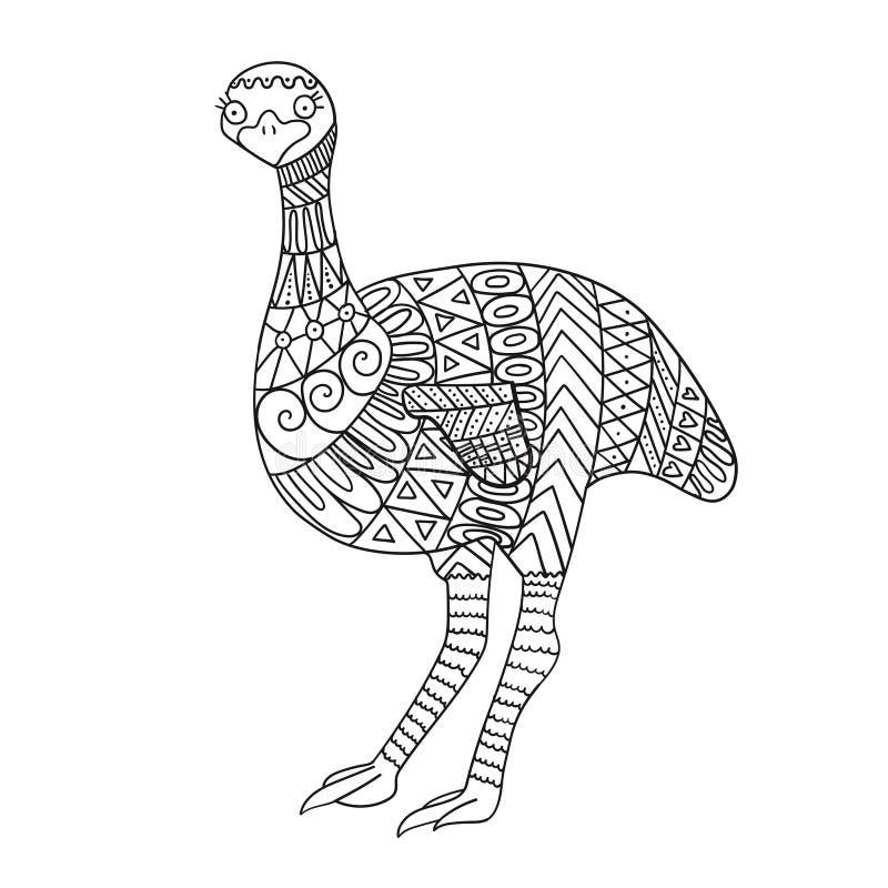 Stiliserad emufågel som isoleras på vit bakgrund vektor illustrationer